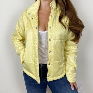 NIKE YELLOW Light Quilted Convertible Coat Vest Sm